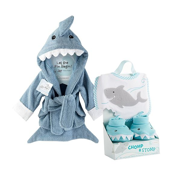 There's nothing cuter than a little baby shark! This shark robe, bib and bootie set is the cutest combo for a summer baby shower or shark-loving parents!