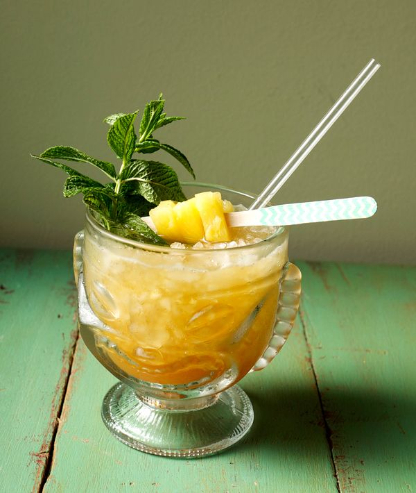 ... of mint and pineapple cubes for garnish) #passionfruit #cocktail #rum