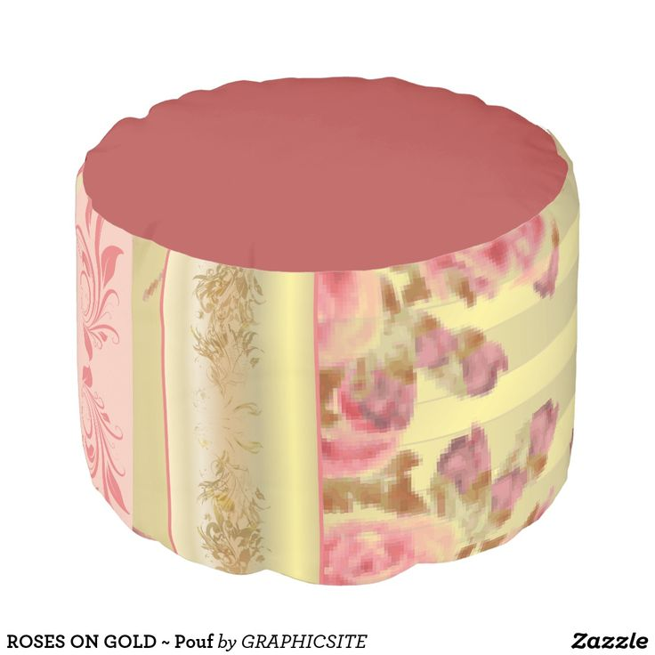 ROSES ON GOLD ~ Pouf