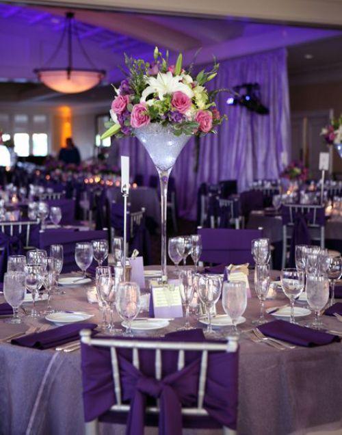 centro de mesa con copas
