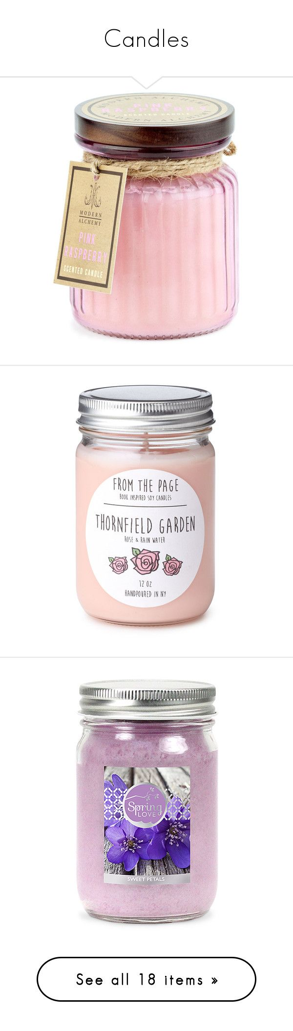 """Candles"" by sara-488 ❤ liked on Polyvore featuring home, home decor, candles & candleholders, pink, pineapple scented candle, round candles, dragon home decor, pineapple home decor, honey scented candle and fillers"
