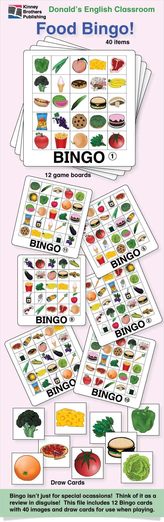 Bingo isn't just for special occasions! Think of Bingo as a lesson review disguised as a game! This pdf file includes 12 Food Bingo game boards and 40 images for use as draw cards.