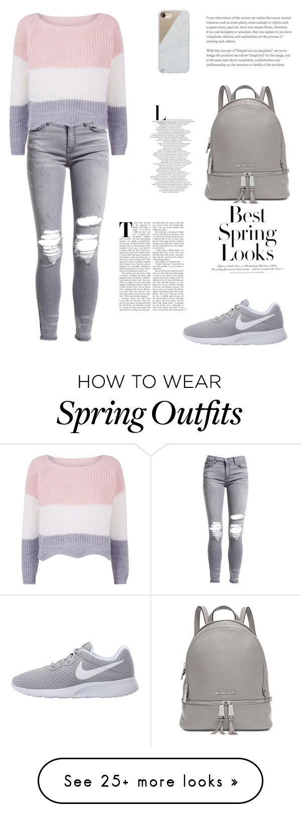 """School Outfit"" by mariatibirna on Polyvore featuring AMIRI, NIKE, Michael Kors, Native Union and H&M"