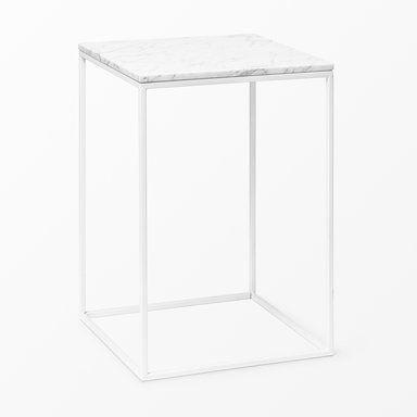 Bord i marmor, 50x35x35 cm, vit
