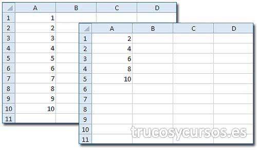 Eliminar filas pares o impares en Excel.