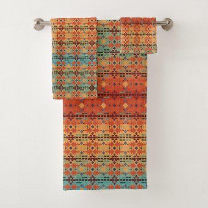 Orange Aqua Ombre | Southwestern Style Bath Towel Set - patterns pattern special unique design gift idea diy