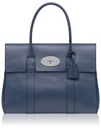 Mulberry - Bayswater in Slate Blue Grainy Print Leather