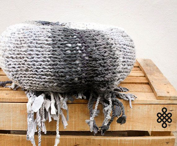 THE TUBER - Retextil pouffe - Handmade Knitted Pouf, Ottoman, Footstool, Fabric Pouf - Hand Woven Recycled High Quality Home Decor #grey #pillow #yoga #meditation
