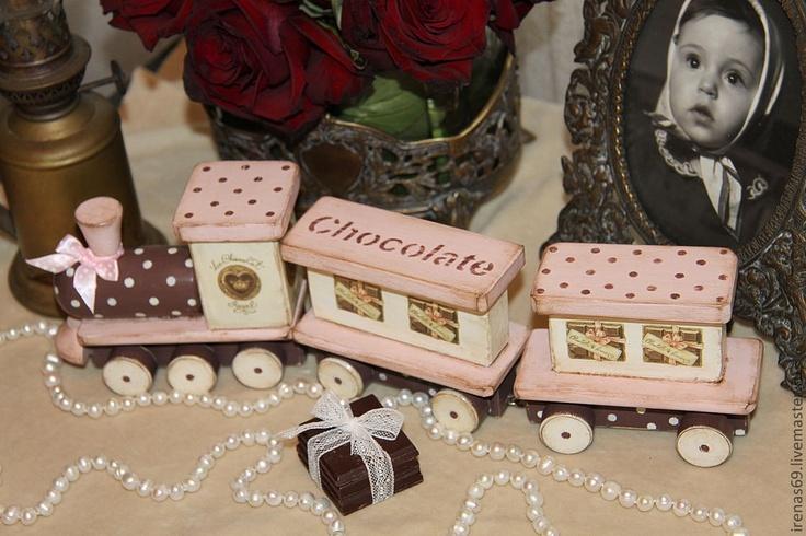 """Детская ручной работы. Ярмарка Мастеров - ручная работа Игрушечный поезд """"Chocolate"""". Handmade."""