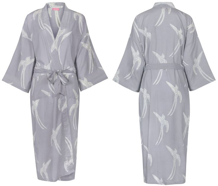 Dressing Gown - Long Tailed Bird White on Grey: http://www ...