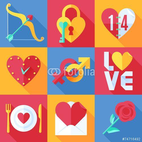 100 Wektor: Flat Love Icons