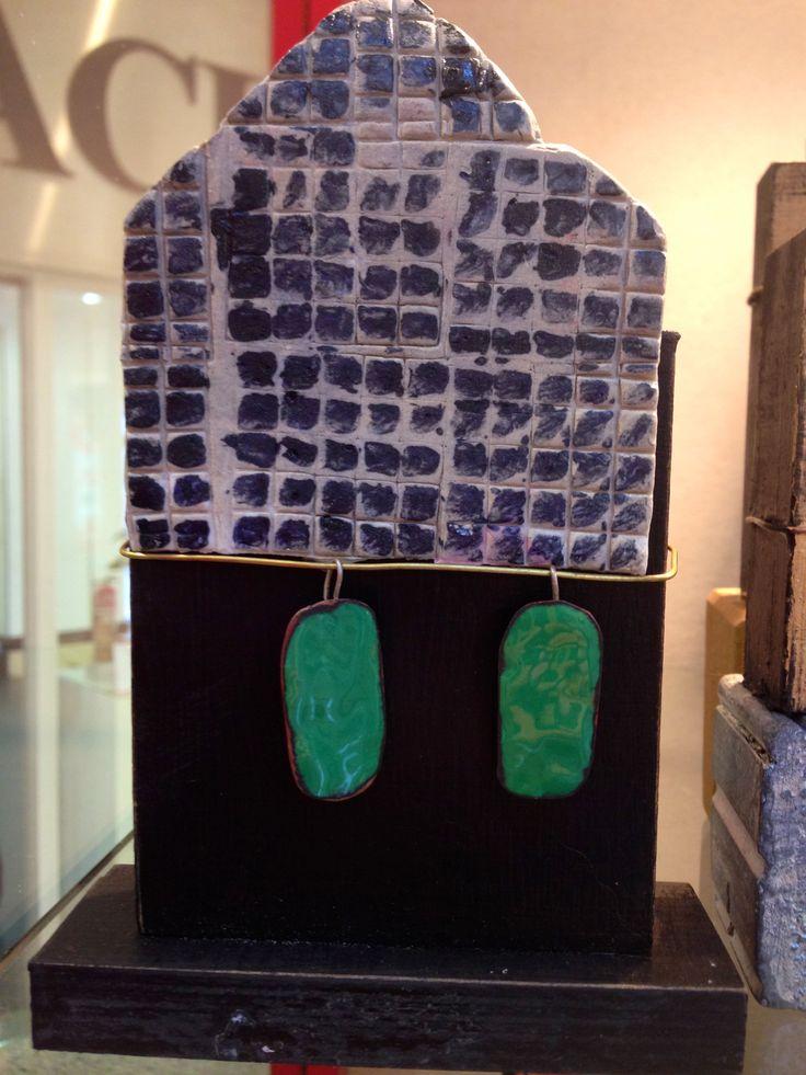 pendientes de esmalte, soporte de ceramica