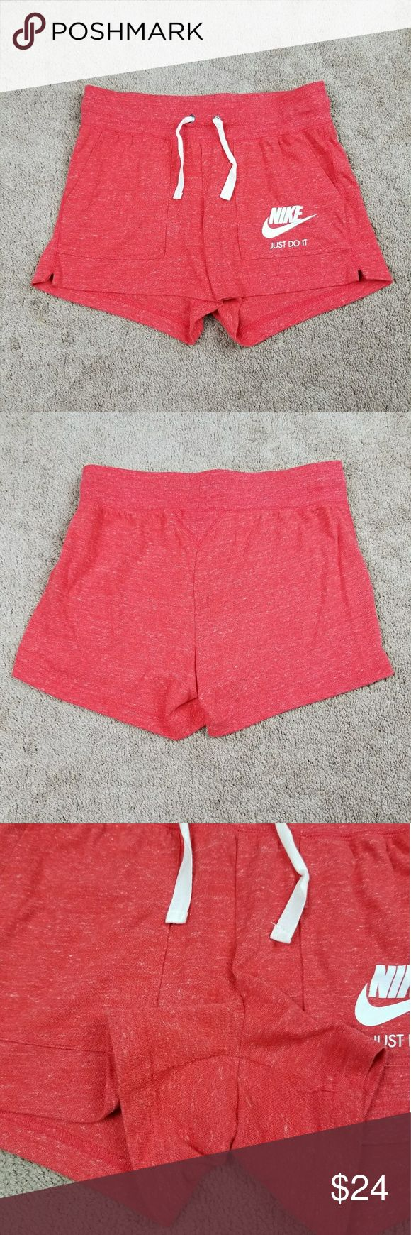 Nike Just Do It Organic Cotton Shorts Nike Just Do It Organic Cotton Shorts  Size - Small  Heathered Red  Drawstring shorts  Great Condition No rips or staining  Very comfy fit  60% certified organically grown cotton  40% recycled Polyster Nike Shorts