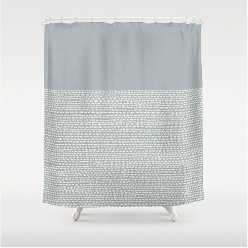 Gray shower curtain in paloma gray, pantone color of 2014, modern bathroom decor, minimalist zen bath decor in grey, gray and white dots by RoveStudio on Etsy https://www.etsy.com/listing/181860883/gray-shower-curtain-in-paloma-gray