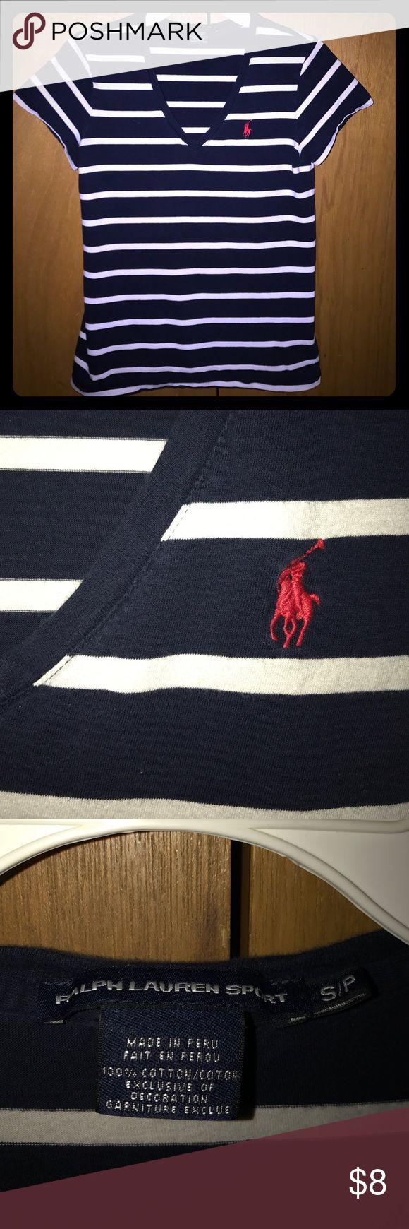 Blue and White Women's Polo Sport V-neck T-shirt Women's small blue and white striped Polo Ralph Lauren Sport v-neck t-shirt Polo by Ralph Lauren Tops Tees - Short Sleeve