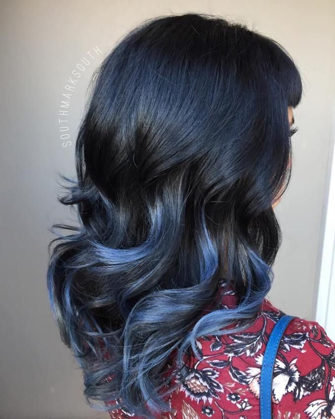 Chunky Blue Highlights For Black Hair