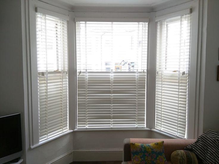 Chalk wood venetian blinds in bay window  | Brighton