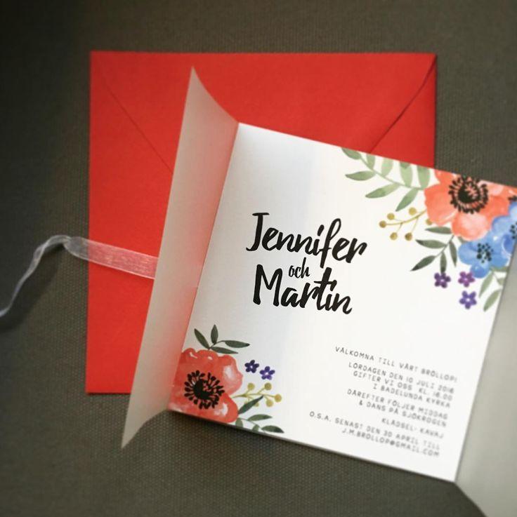 Blomster akvarell transparent Inbjudan, inbjudningskort till bröllop www.annagorandesign.se akvarell Anna Göran
