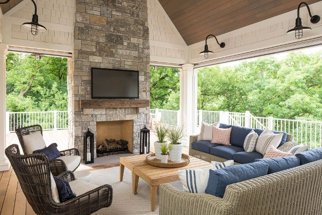Screened Porch With Stone Fireplace Vaulted Ceiling And Coastal Farmhouse Lighting Outdoor Living Rooms Outdoor Living Space Home Decor Bedroom
