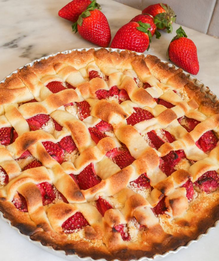 Tarte+aux+fraises+et+amandes
