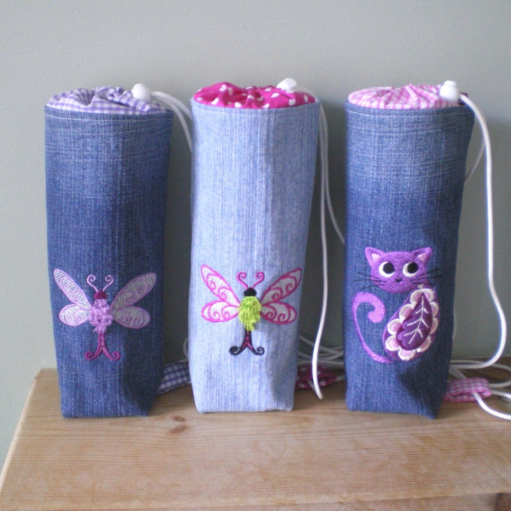 Denim Drink Bottle Bags  MinXtures