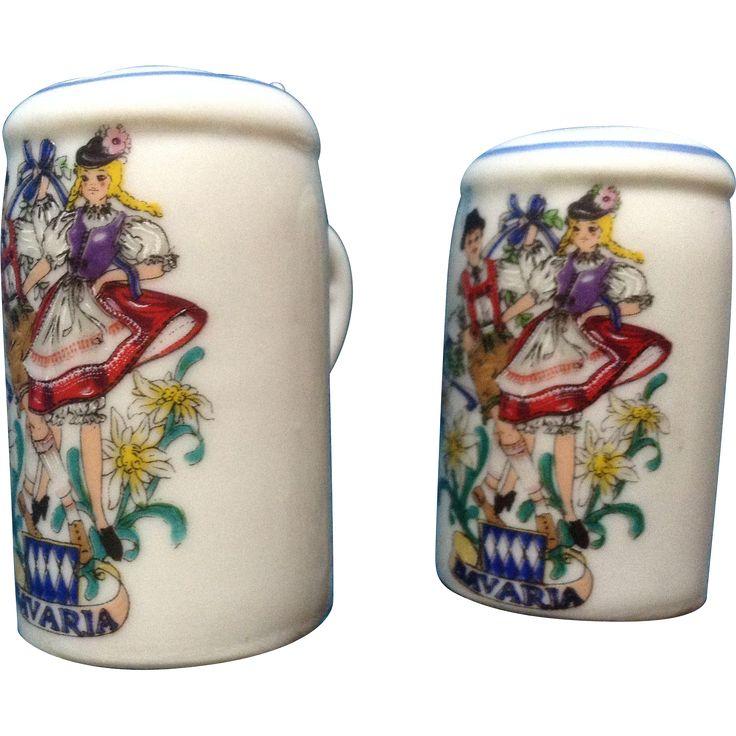 Vintage Reutter Porzellan Germany Bavaria Beer Steins with Folk Dancers Salt & Pepper Shakers
