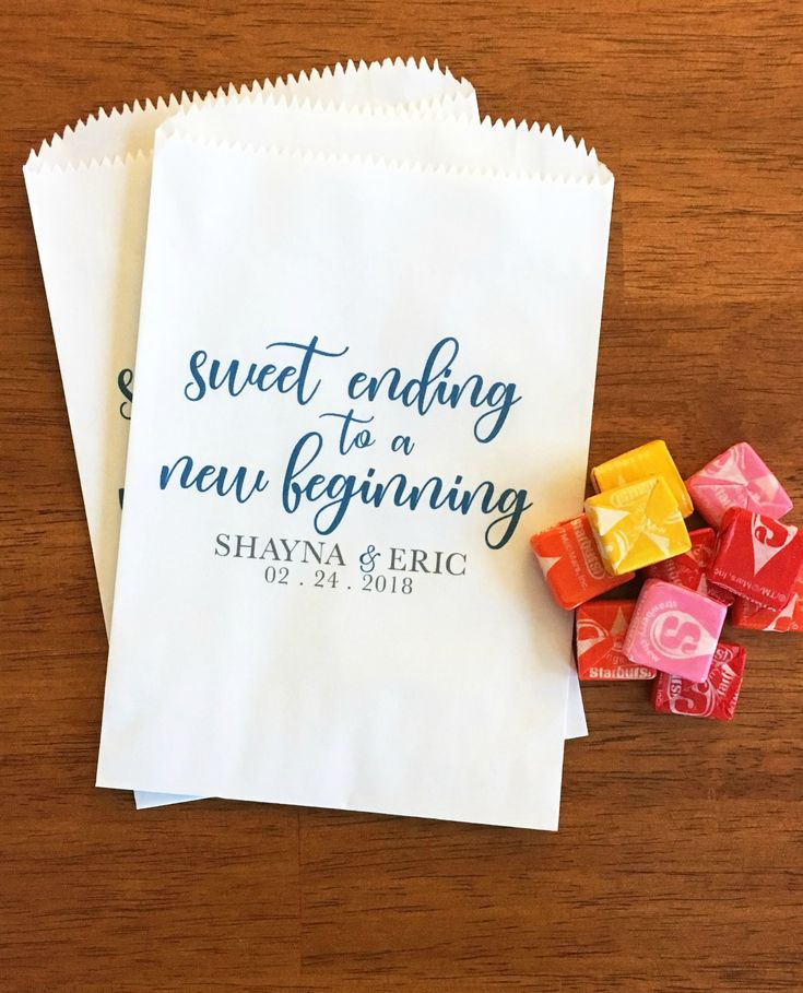 Cute idea for a wedding or bridal shower favor!  A Sweet Ending to a New Beginning Cookie Bags - Wedding Donut Bags - Bridal Shower Favor Bags - Candy Bar Bags - Custom Treat Bags LINED