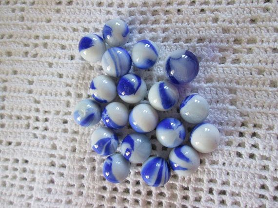 Vintage 20 billes bleues/ Vintage 20 blue balls