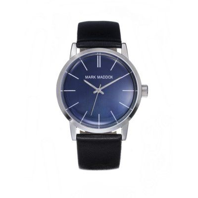 Mark Maddox - Men\'s Classic Black Leather Blue Dial Watch - HC3009-36 - Online Price: £39.95