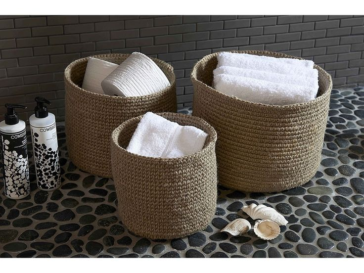 15 handwoven soft round jute basket - Bathroom Baskets