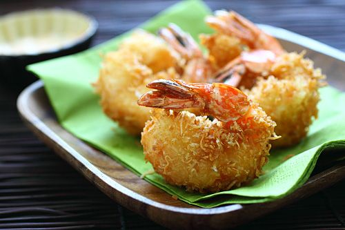 Coconut Shrimp: The coconut shrimp is unlike others that you have tried before—the shrimp has a juicy sweet taste that bursts in my mouth and the coating is crispy, airy, without being greasy… #shrimp #coconut