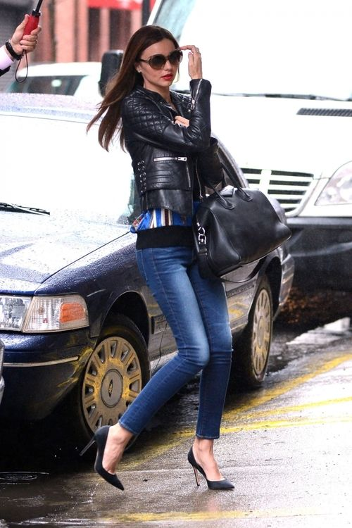 quilted design elements of leather jacket and the heels jazz up this outfit -m