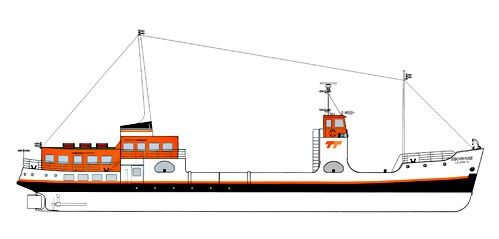 Classe navio: Ferryboat Monocasco Ligação: Trafaria / Porto Brandão / Belém Construção navio: 1953 Reconstrução: 1991 Remotorizado: 2004 Capacidade: 346 passageiros e 30 veículos N.º de salões: 2 Outras caraterísticas: 2 tombadilhos, com instalações sanitárias.