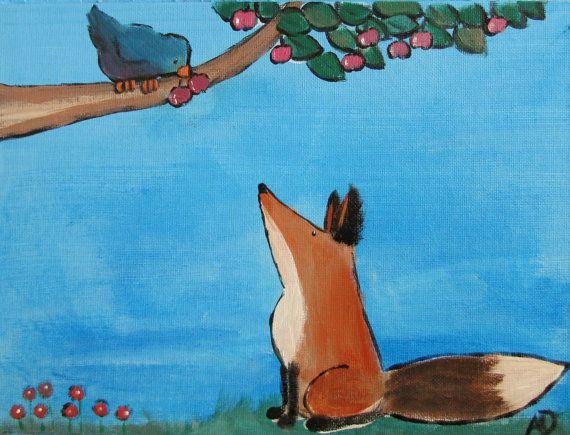 Original Childrens Art, Nursery Decor, Storybook Fox Painting, by Andrea Doss, 12 x 9