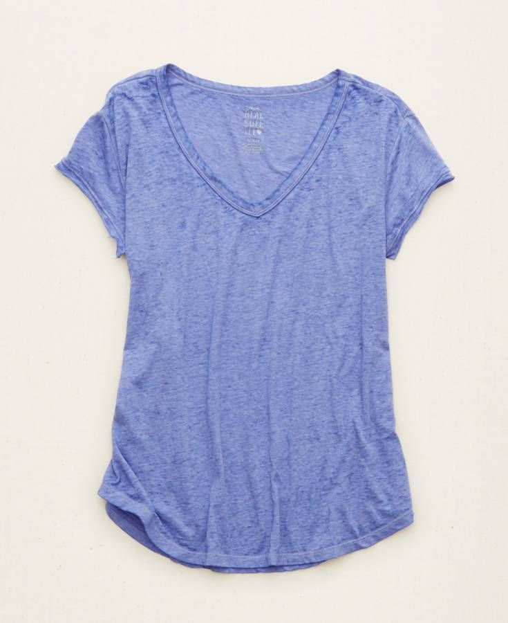 Aerie Graphic V-Neck Real Soft® Tee, Women's, Navy Blue