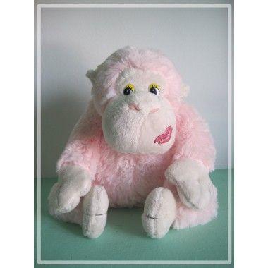 Peluche mono en color rosa 20cm. Disponible en varios colores (Marrón oscuro, marrón claro, celeste, amarillo y rosa)