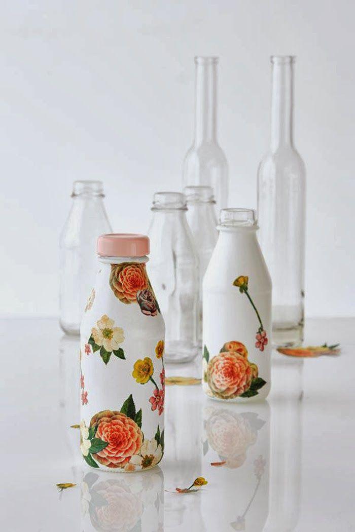 DIY Spray Paint + Decoupage Bottles