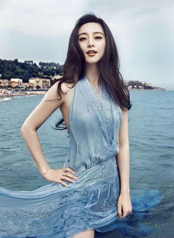 Blue dress in the blue water-Bingbing Fan
