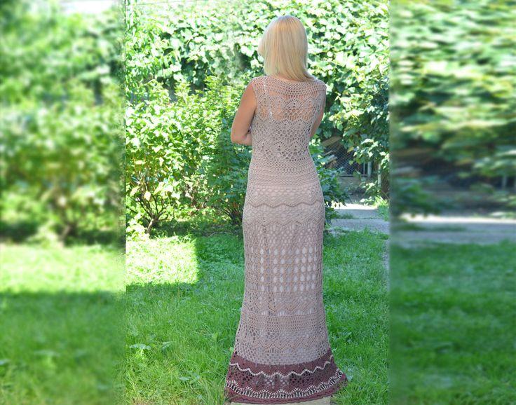 Summer long dress Crochet boho dresses Hippie dress Beach