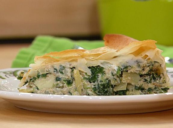 spinach, artichoke, ricotta pie