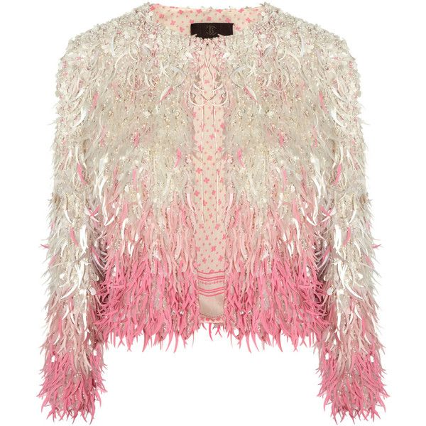 Roberto Cavalli Sequined silk-organza jacket (€2.965) found on Polyvore featuring outerwear, jackets, pink, roberto cavalli, tops, pink cropped jacket, pink jacket, sequin jacket, cropped jacket and sequin crop jacket