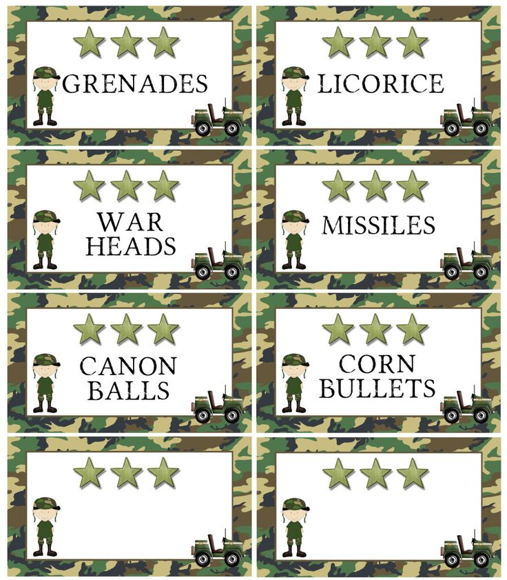 FREE printable Army Food Labels (also available blank) @ MarvelousMommy.com