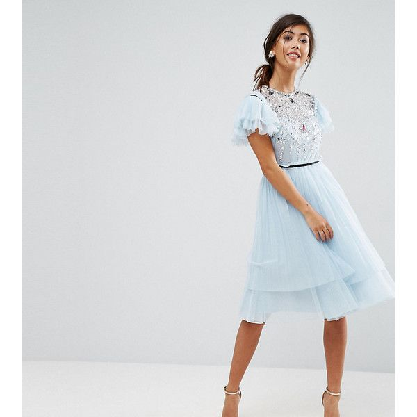 ASOS PETITE Pretty Embellished Tulle Midi Dress ($105) ❤ liked on Polyvore featuring dresses, grey, petite, embelished dress, petite dresses, high neck midi dress, tulle cocktail dresses and high neck cocktail dress