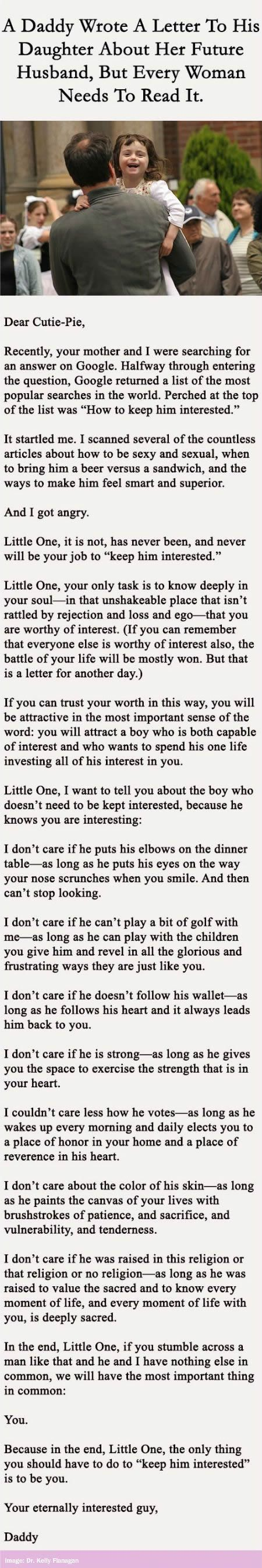 A Touching Letter Wrote By A Daddy To His Daughter.
