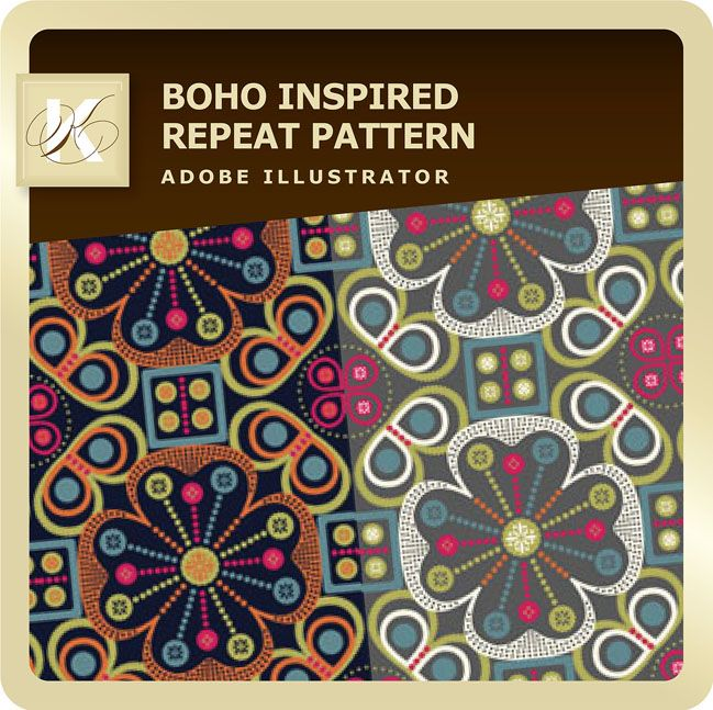 Boho inspired repeat pattern in Adobe Illustrator