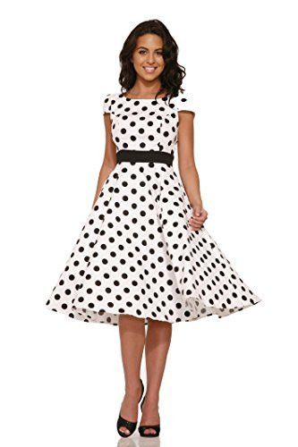 Retro Vintage Style 1950s Swing Dress Fitted Bodice