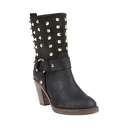 HATERR BLACK LEATHER women's bootie mid casual - Steve Madden