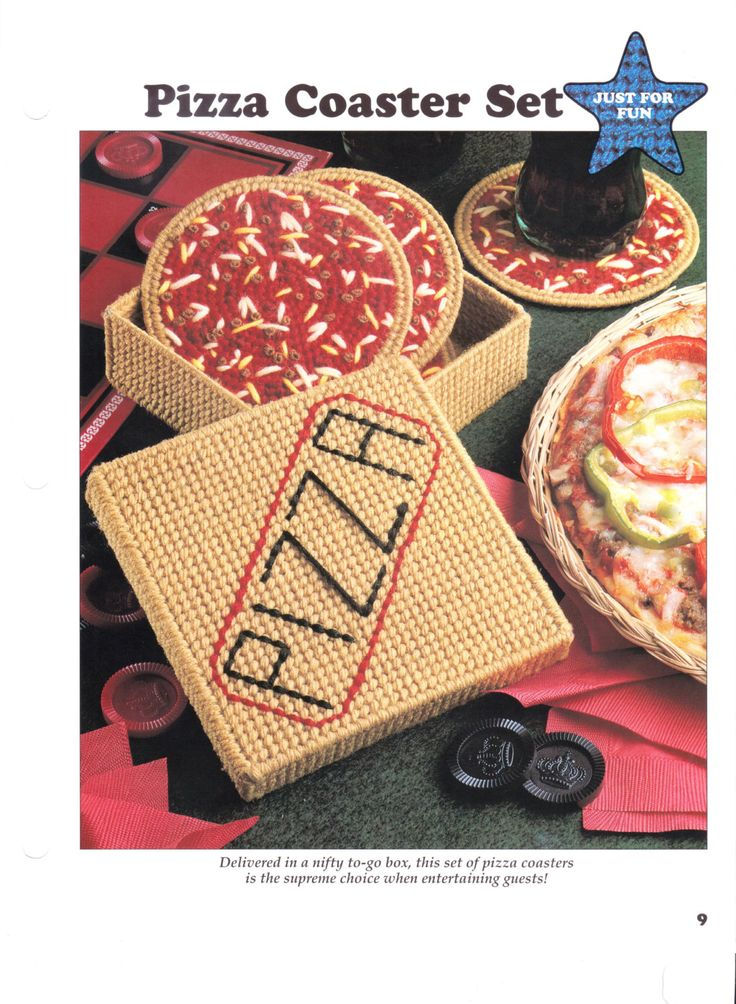 Pizza Coasters and Holder In Plastic Canvas by HappyStitchingFinds on Etsy