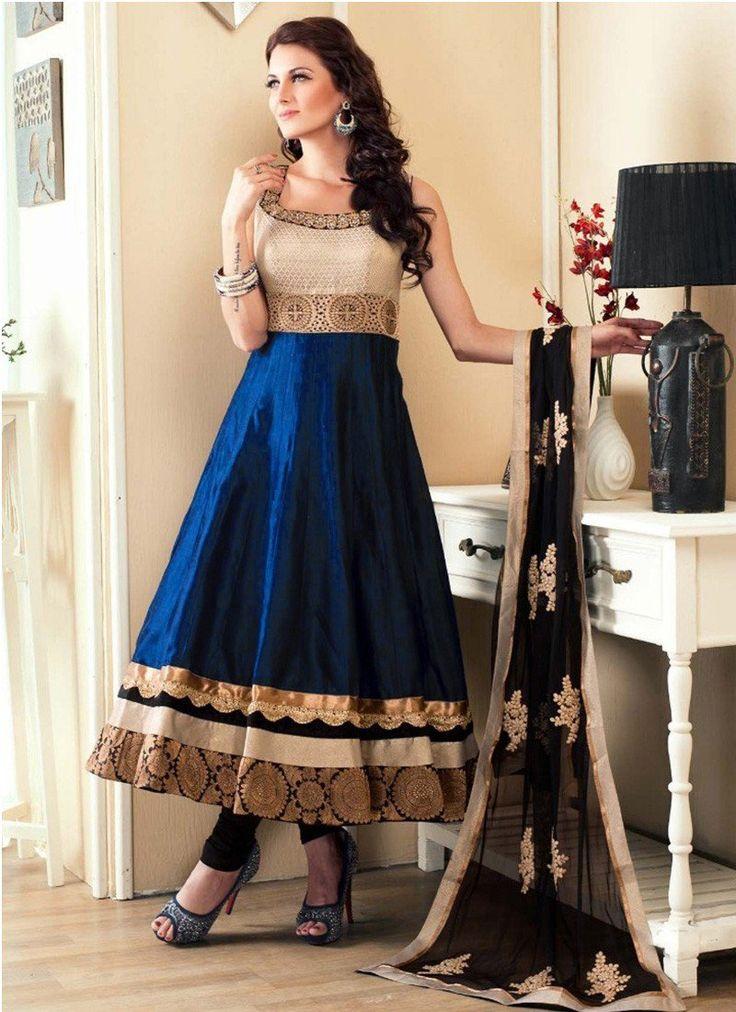 Shop Beige Blue Banglori Satin #LongLengthSalwarSuits Online