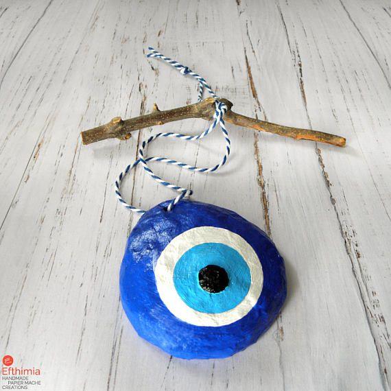 Papier Mache Eye Blue Evil Eye Evil Eye Decor Evil Eye Wall